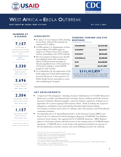 West Africa - Ebola Outbreak - Fact Sheet #1 (FY 15)