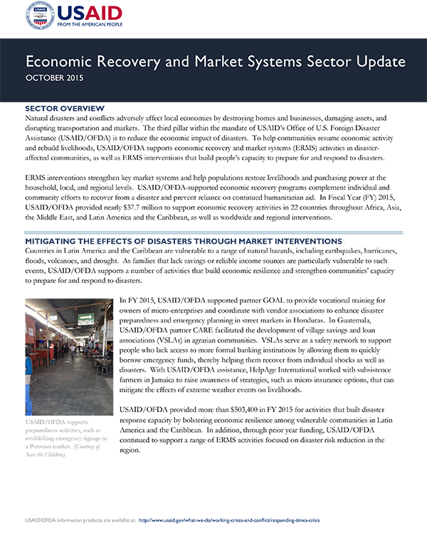 USAID/OFDA Economic Recovery and Market Systems Sector Update