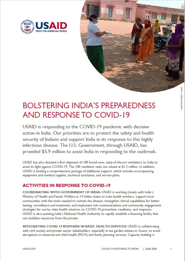 Fact Sheet: Bolstering India's Preparedness and Response to COVID-19