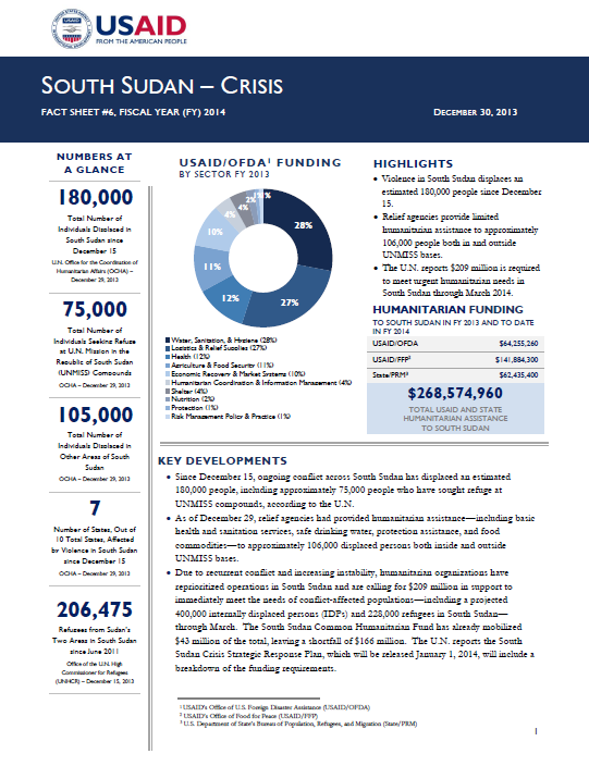 South Sudan Crisis Fact Sheet #6 December 30, 2013