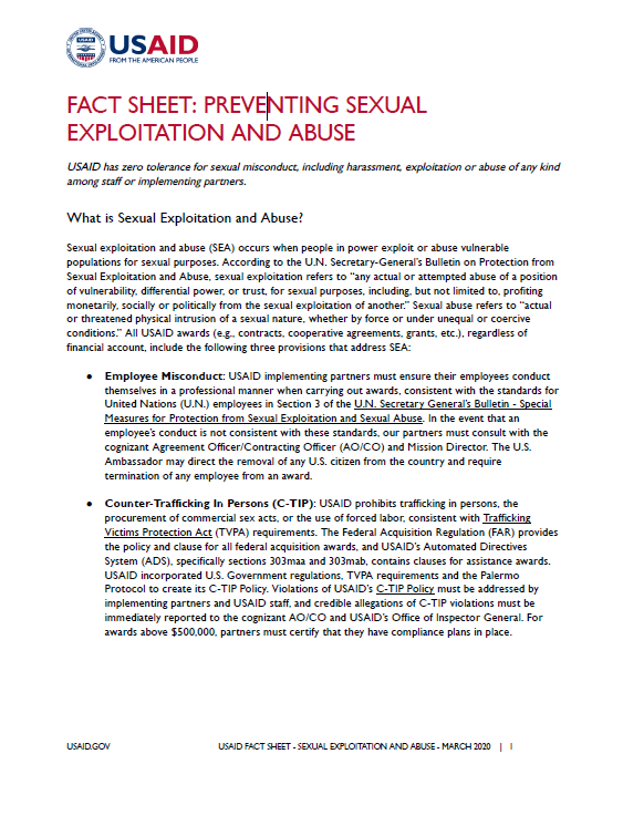 Fact Sheet: Preventing Sexual Exploitation and Abuse