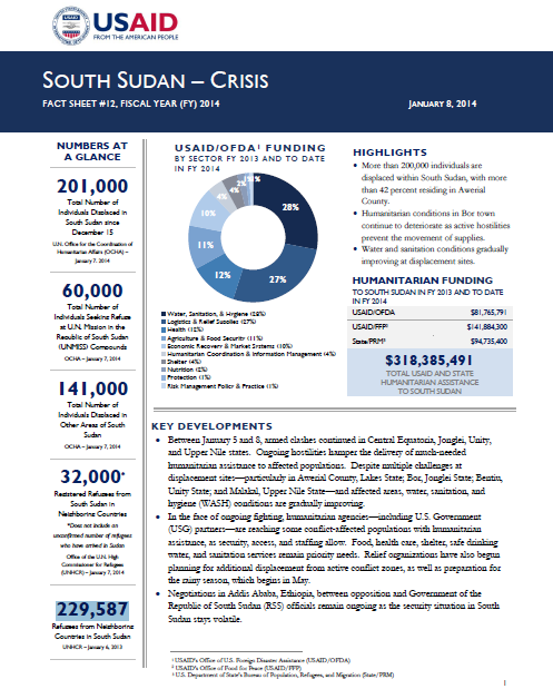 South Sudan Crisis Fact Sheet #12 January 8, 2014