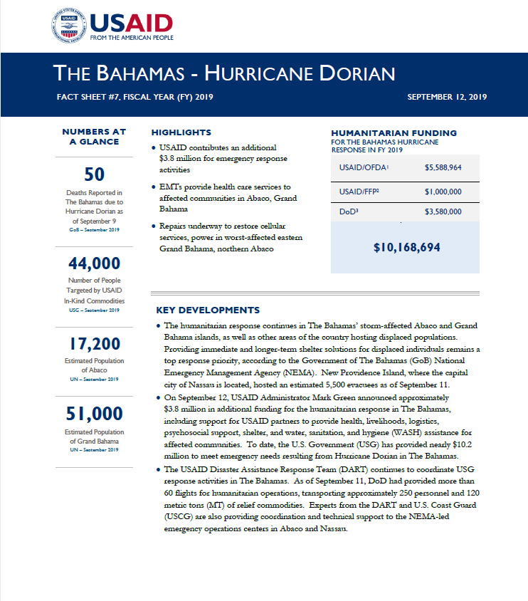 The Bahamas - Hurricane Dorian Fact Sheet #7, (FY) 2019
