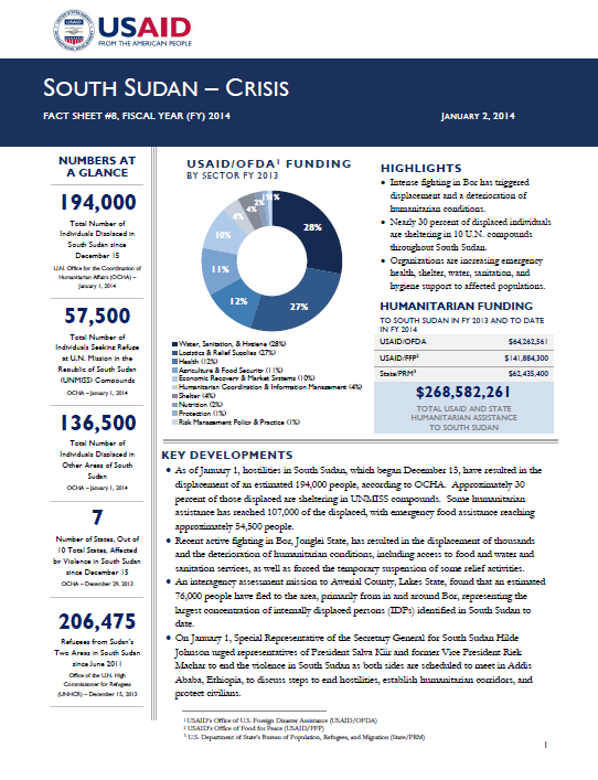 South Sudan Crisis Fact Sheet #8 January 2, 2014