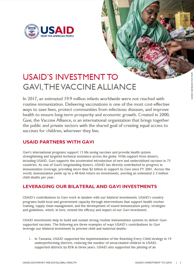 USAID's Investment to Gavi, the Vaccine Alliance