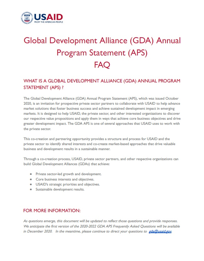 Frequently Asked Questions: Global Development Alliance Annual Program Statement