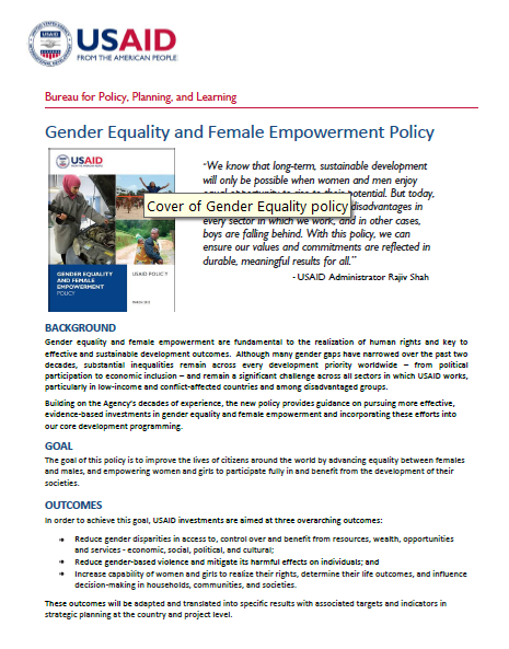 Overview of USAID's Gender Equality & Female Empowerment Policy