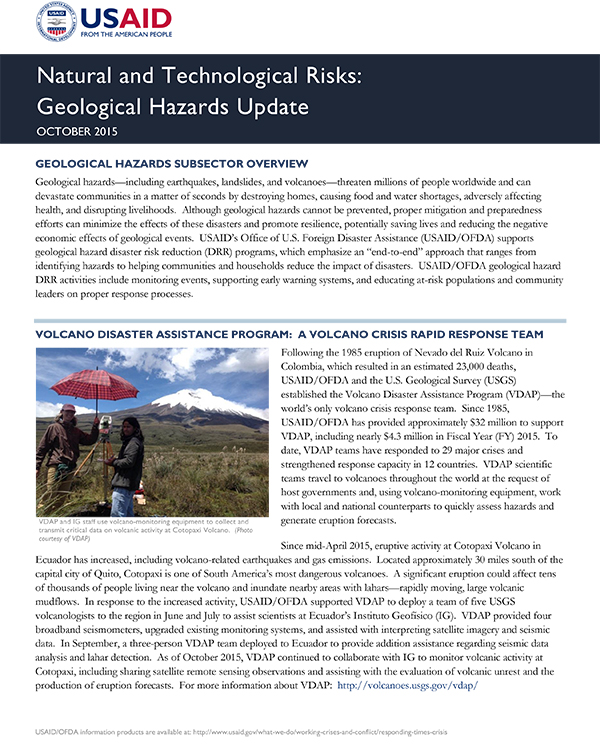 USAID/OFDA Geological Hazards Subsector Update