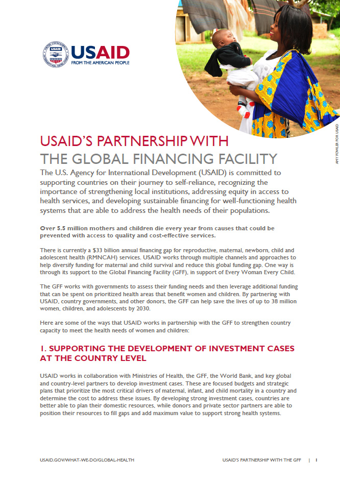USAID'S Partnership With The Global Financing Facility