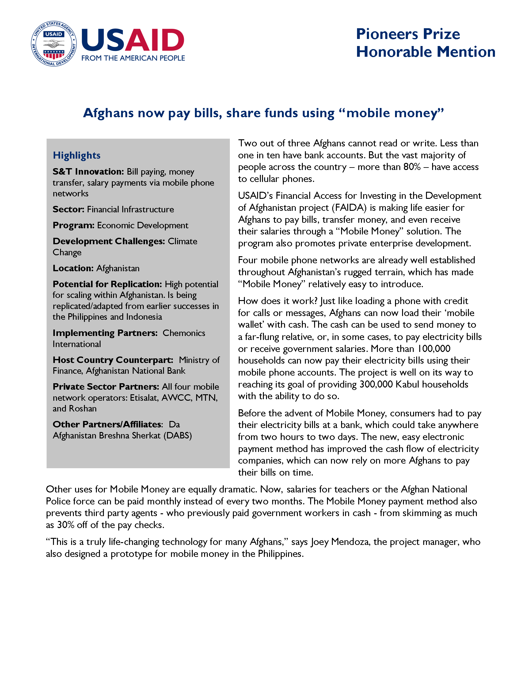 Mobile money through SMS technology in Afghanistan