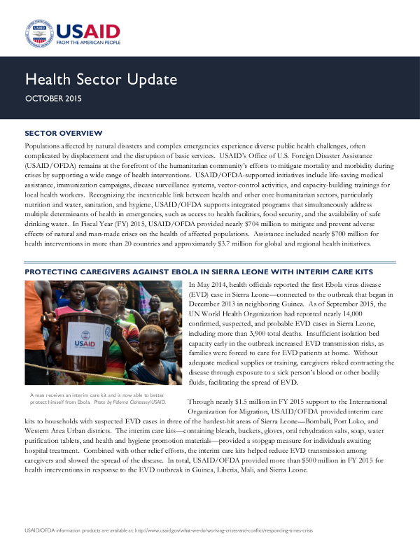 USAID/OFDA Health Sector Update