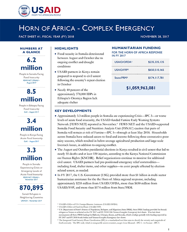 Horn of Africa Complex Emergency Fact Sheet #1 - 11-28-2017