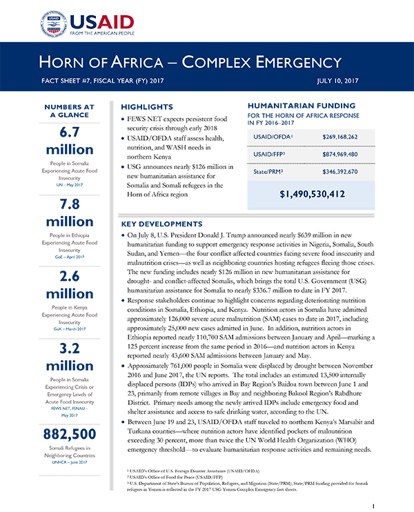 Horn of Africa Complex Emergency Fact Sheet #7 - 07-10-2017