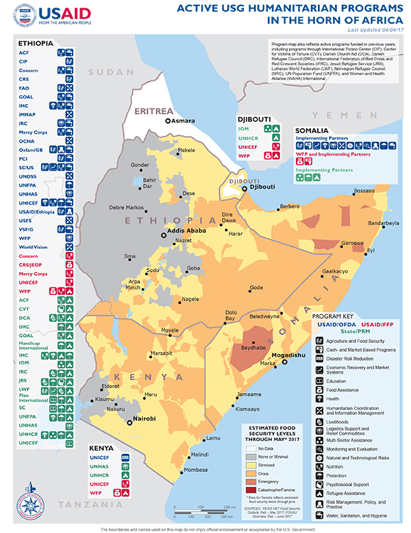 Horn of Africa Map - 04-04-2017