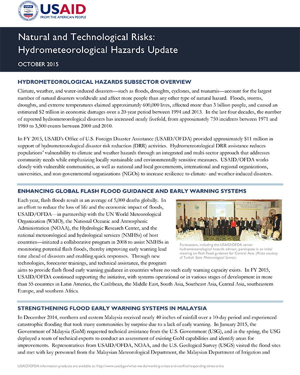 USAID/OFDA Hydrometeorological Hazards Subsector Update