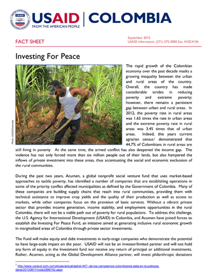 FACT SHEET - Investment for Peace Fund