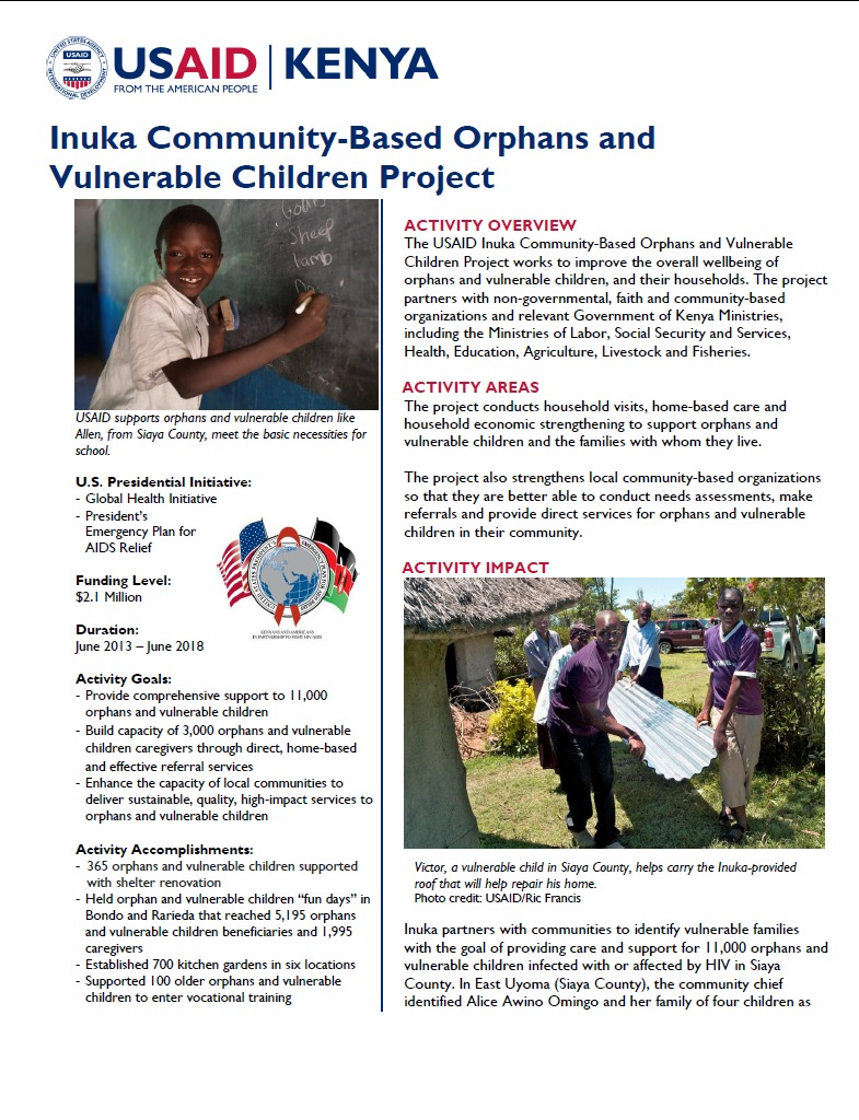 Inuka Community-Based Orphans and Vulnerable Children Project Fact Sheet_August 2014