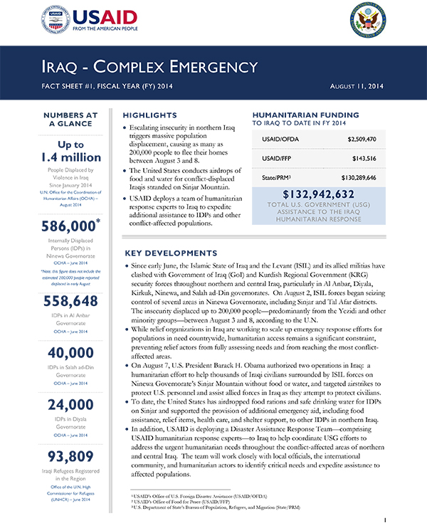 Iraq Complex Emergency Fact Sheet #1 - 08-11-2014 (CORRECTED)
