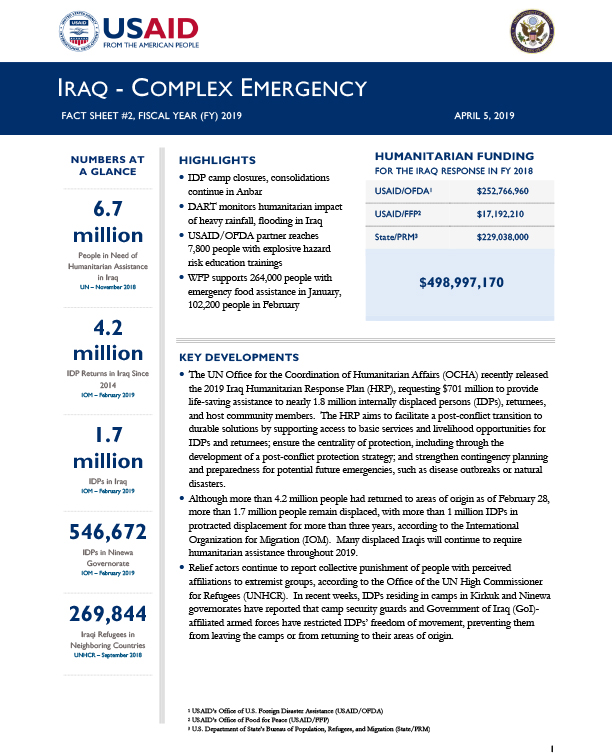 Iraq Complex Emergency Fact Sheet #2 - 04-05-2019