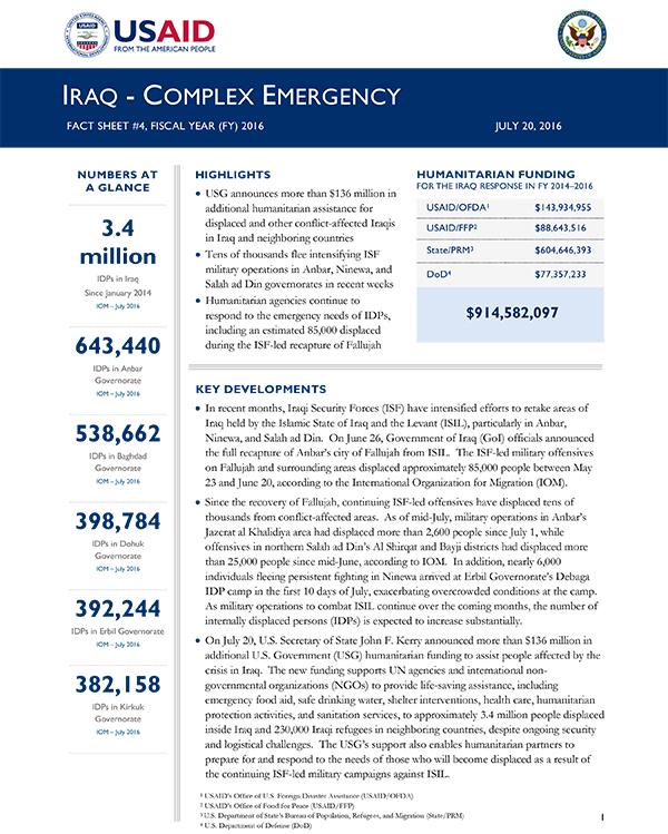 Iraq Complex Emergency Fact Sheet #4 - 07-20-2016
