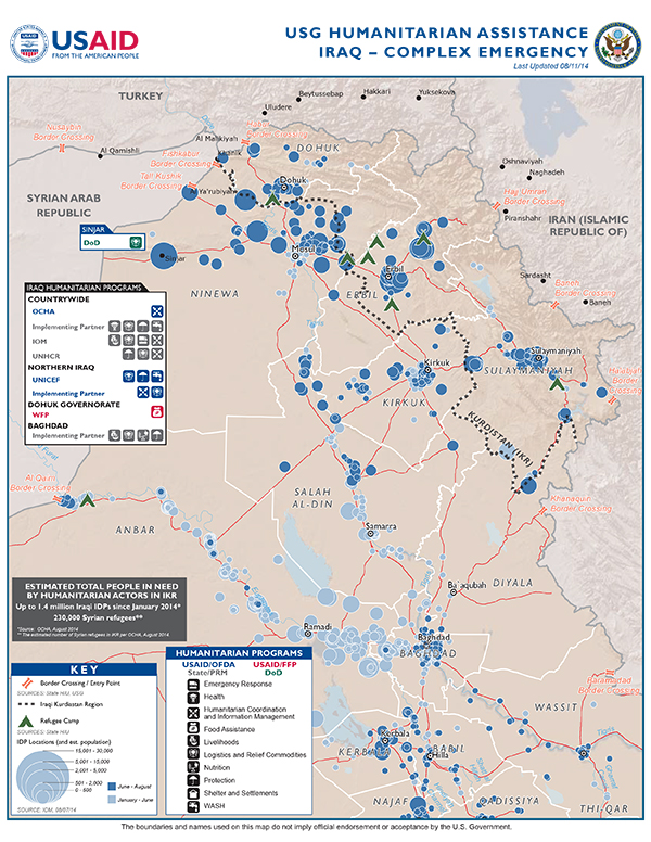 Iraq Complex Emergency Map - 08-11-2014