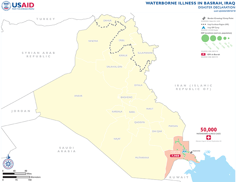 Iraq Waterborne Illness Map - 09-10-2018