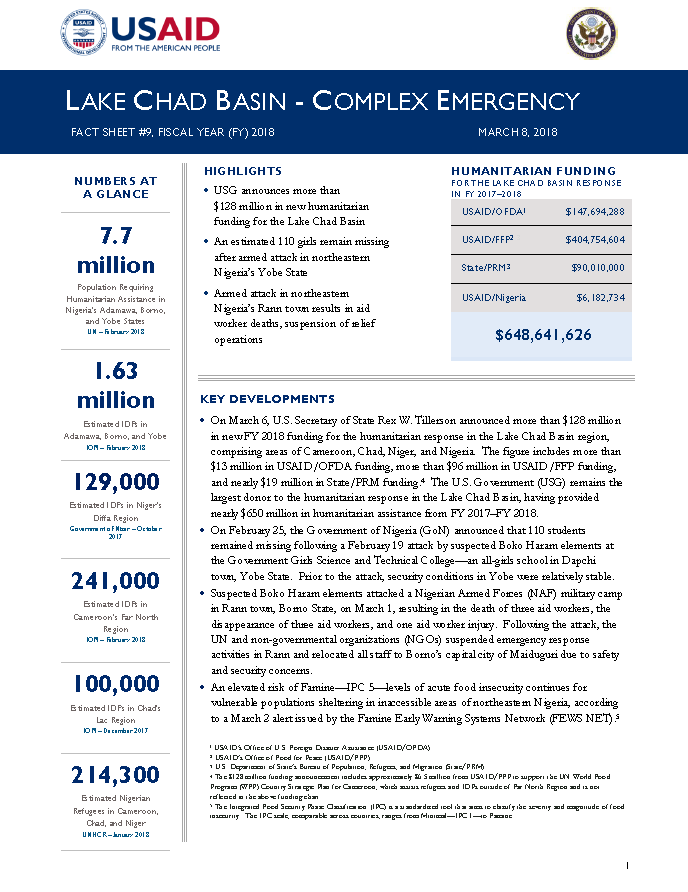 Lake Chad Basin Complex Emergency Fact Sheet #9, March 8, 2018