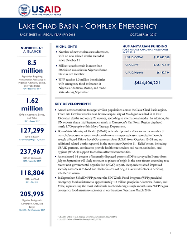 Lake Chad Basin Complex Emergency Fact Sheet #1 - 10-26-2017