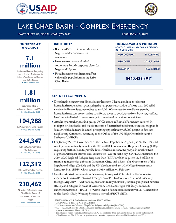 Lake Chad Basin Complex Emergency Fact Sheet #3 - 02-13-2019