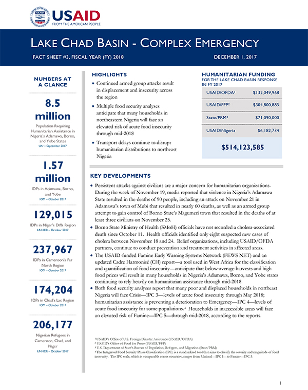 Lake Chad Basin Complex Emergency Fact Sheet #3 - 12-01-2017