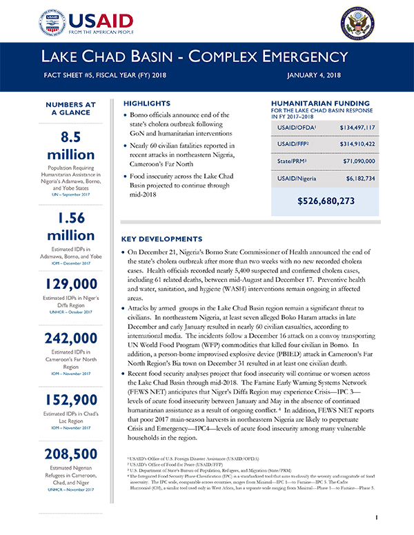 Lake Chad Basin Complex Emergency Fact Sheet #5 - 01-04-2018