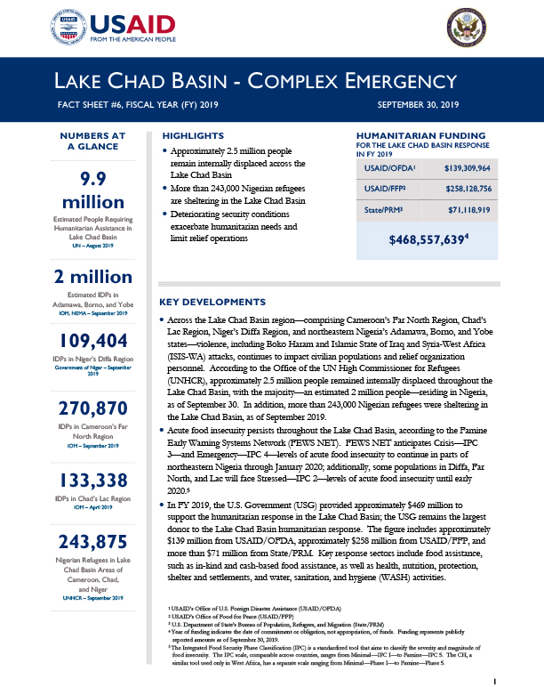 Lake Chad Basin Complex Emergency Fact Sheet #6 - 09-30-2019