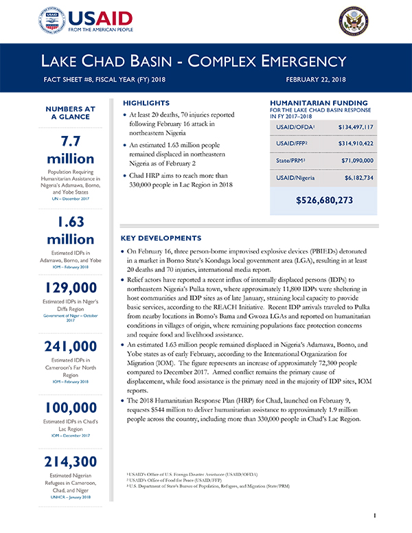Lake Chad Basin Complex Emergency Fact Sheet #8 - 02-22-2018