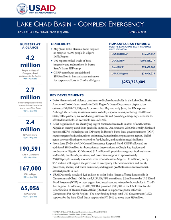 Lake Chad Basin Complex Emergency - Fact Sheet #9
