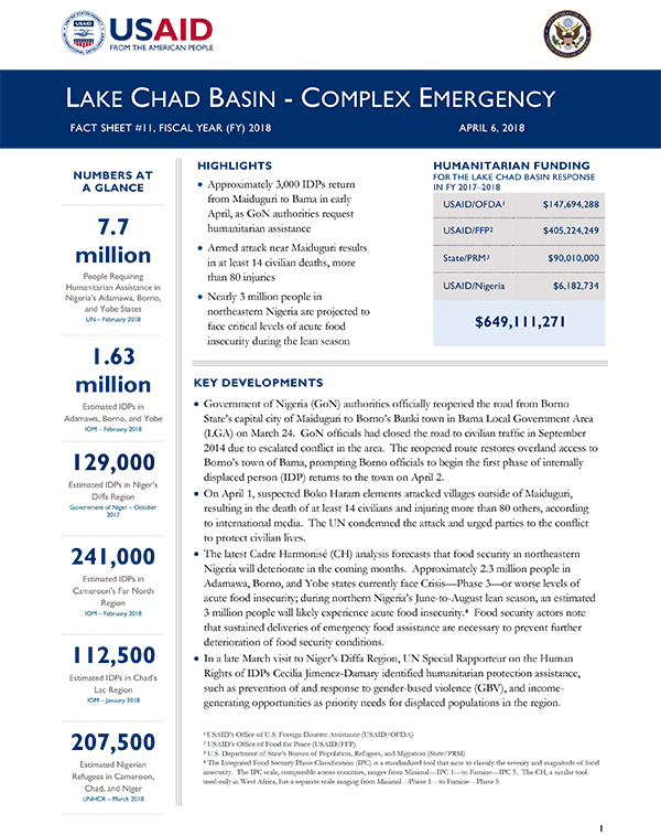 Lake Chad Basin Complex Emergency Fact Sheet #11 - 04-06-2018
