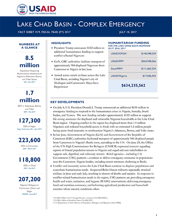 Lake Chad Basin Complex Emergency Fact Sheet #19 - 07-10-2017