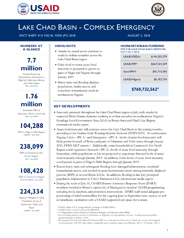 Lake Chad Basin Complex Emergency Fact Sheet #19 - 08-02-2018