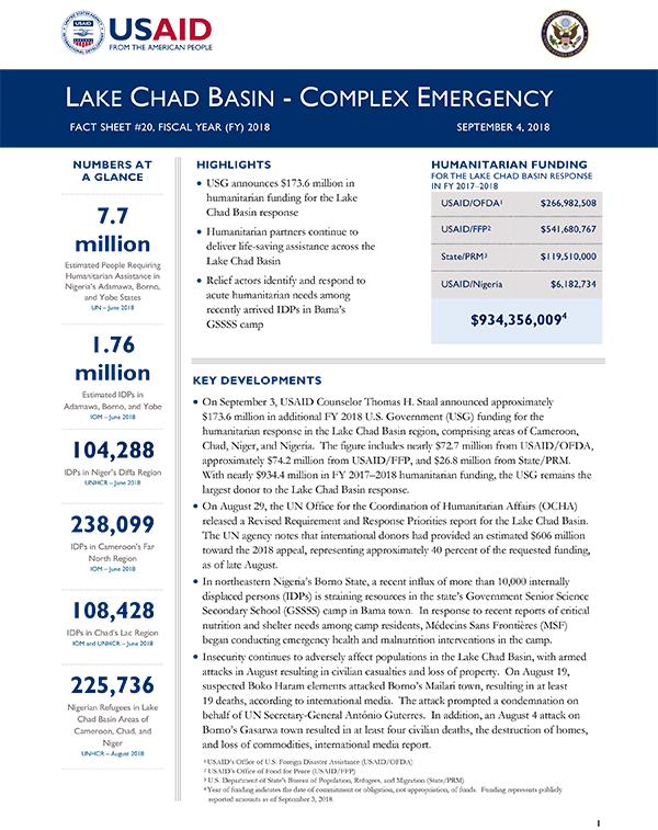 Lake Chad Complex Emergency Fact Sheet #20 - 09-04-2018