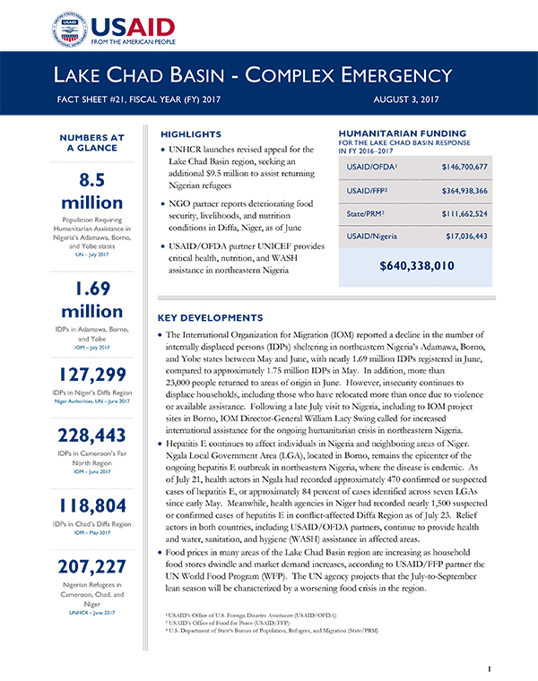 Lake Chad Basin Complex Emergency Fact Sheet #21 - 08-03-2017