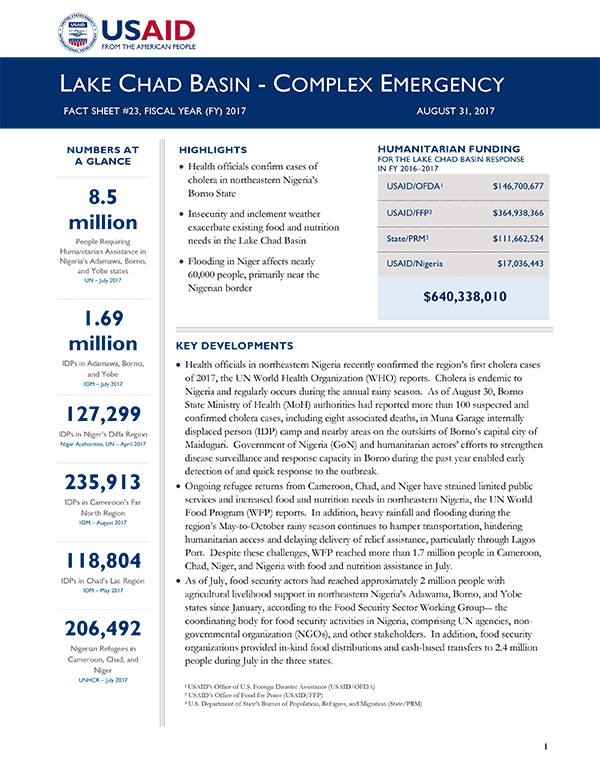 Lake Chad Basin Complex Emergency Fact Sheet #23 - 08-31-2017