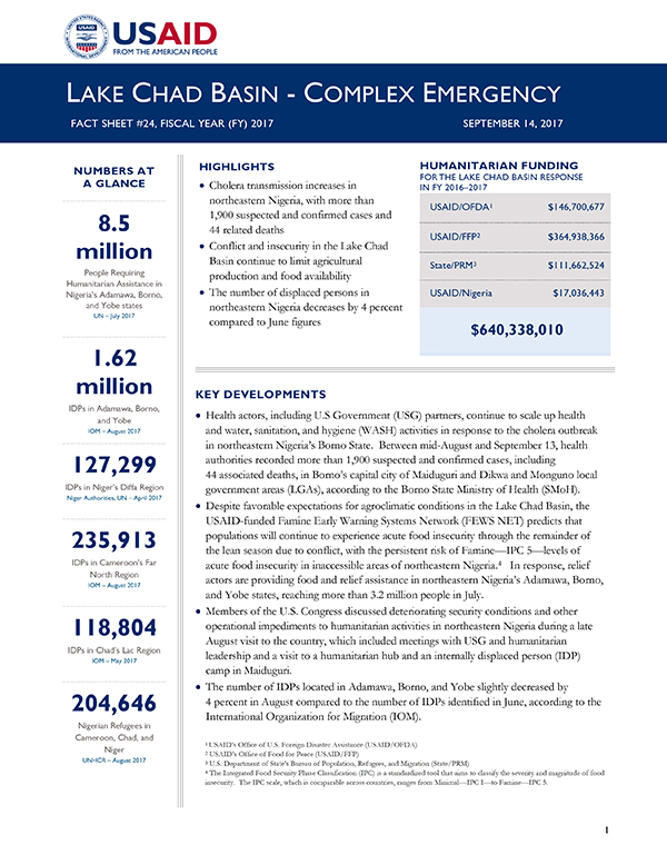 Lake Chad Basin Complex Emergency Fact Sheet #24 - 09-14-2017