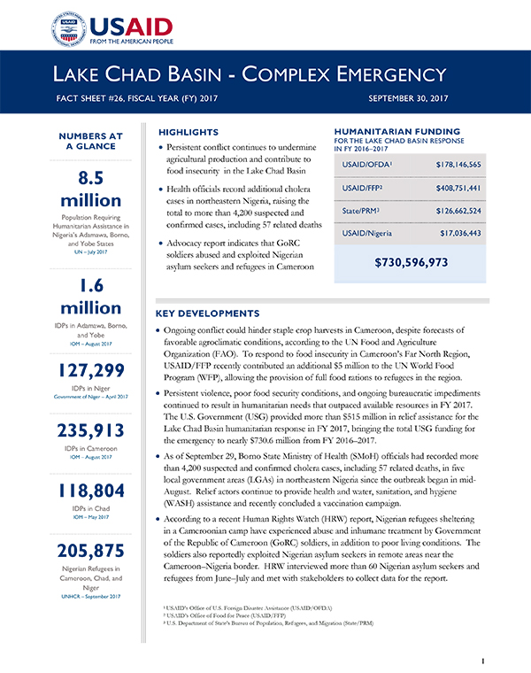 Lake Chad Basin Complex Emergency Fact Sheet #26 - 09-30-2017