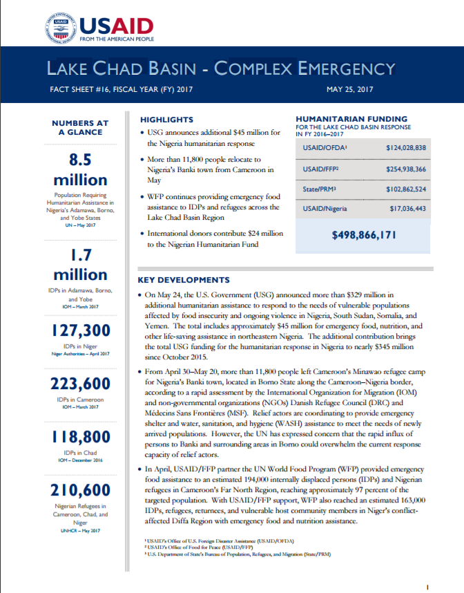 Lake Chad Basin Complex Emergency Fact Sheet #16 FY2017