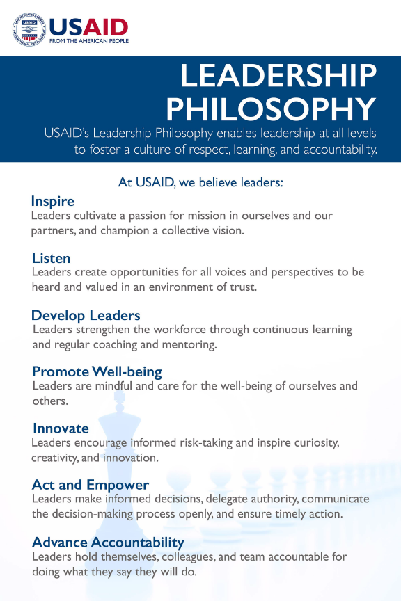 USAID Leadership Philosophy - Click to download PDF