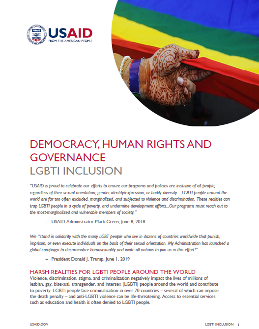 Democracy, Human Rights and Governance LGBTI Inclusion