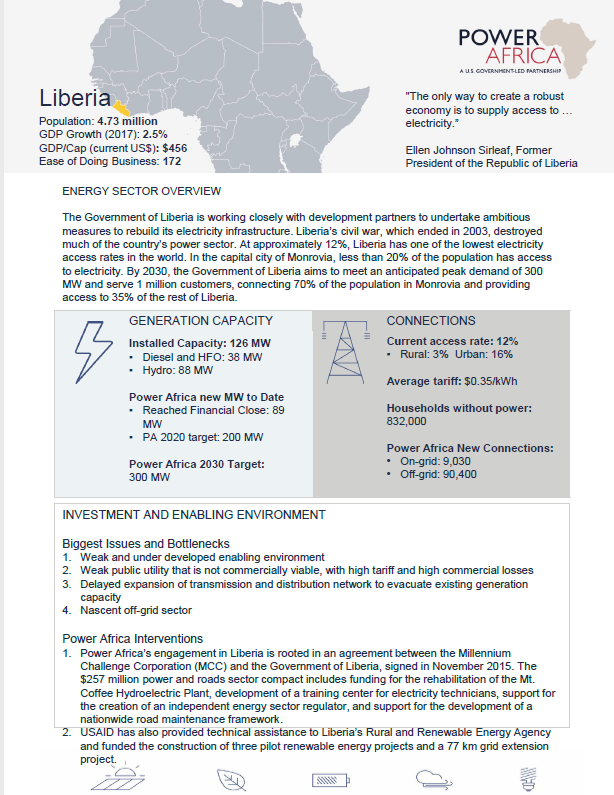 Power Africa Liberia Fact Sheet