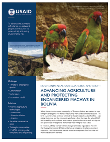 Advancing Agriculture and Protecting Endangered Macaws in Bolivia