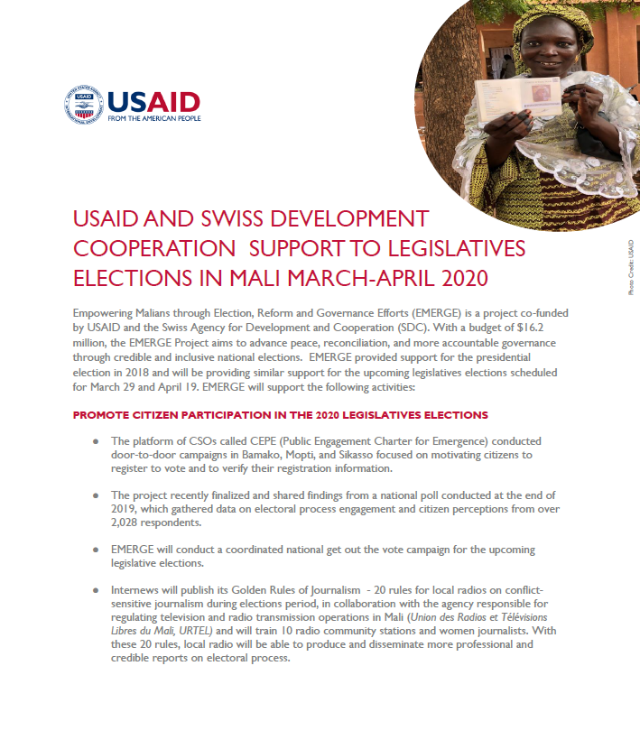 US and Swiss Support to Legislative Elections in Mali