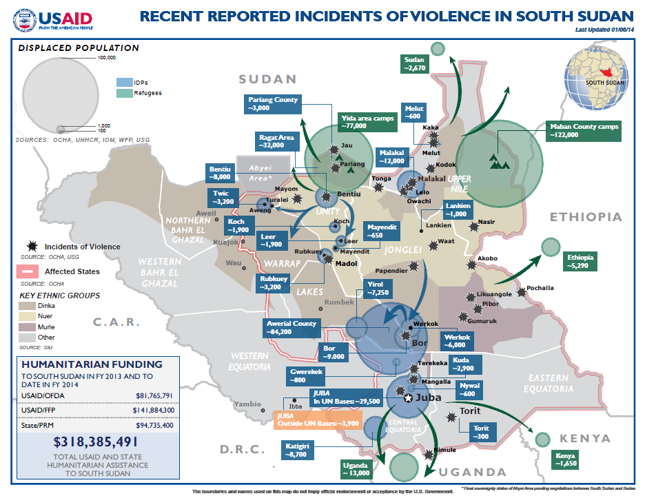 South Sudan Crisis Map #10 January 6, 2014