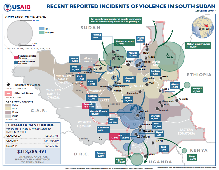 Recent reported incidents of violemce in South Sudan January 15, 2014